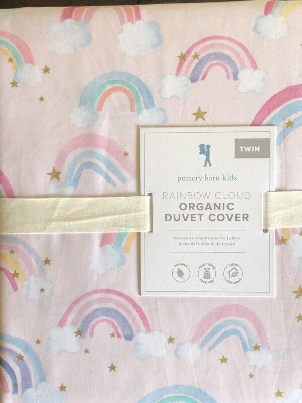 POTTERY BARN KIDS Rainbow Cloud Organic Pink TWIN Duvet - NEW