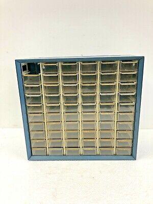 Vintage Metal Parts Cabinet 60 Drawer Akro Mils Blue Steel Organizer Tool Box