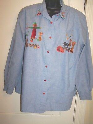 Karen Scott Cotton Lite Blue Halloween Harvest Pumpkin Shirt XL P3b (Karen Halloween)