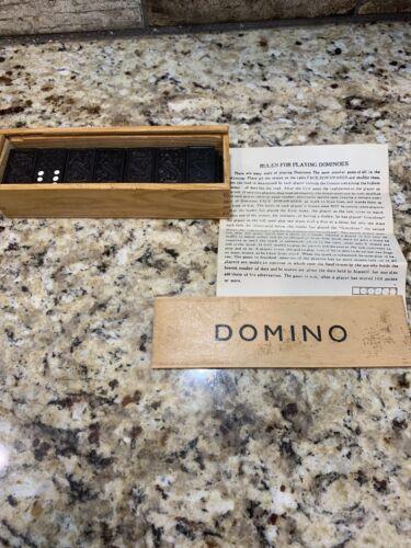 DOMINOS Vintage WOOD BOX SET Black Dragon 28 Pressed Tiles Dovetail Box  - $1.99