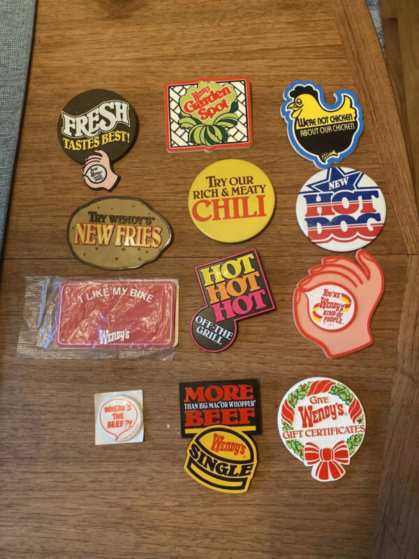 Vintage Wendy's Buttons lot of ten (10) Fast Food Where's The Beef Sticker 1984