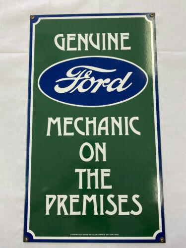 Vintage Porcelain Genuine Ford Mechanic on Premises Sign