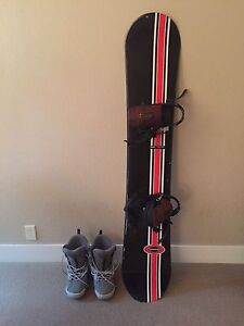 Snowboard, boots (mens 12) and bindings
