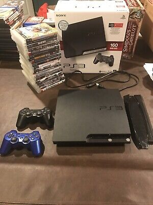 PlayStation 3 Slim 160GB Console Bundle 19 Games 2 Controllers Tested
