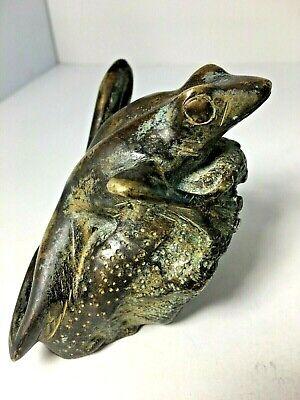 FROG Heavy Metal (Brass?) American Green Tree Frog 1 lb 5 oz. Door Stop? VTG