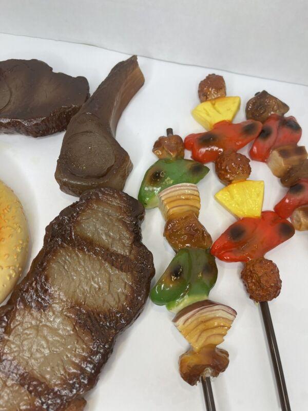 Plastic Food Display/Toys 16 piece kabobs, steaks, burgers prop food vinyl LG SZ
