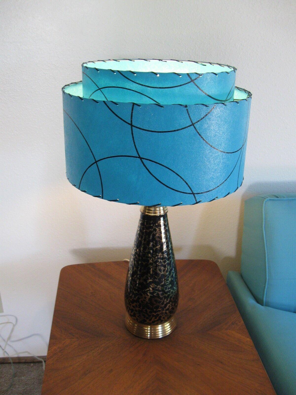 mid century vintage style 2 tier fiberglass lamp shade modern atomic. Black Bedroom Furniture Sets. Home Design Ideas