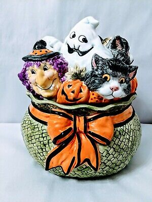 Fitz & Floyd Halloween Witch Hazel, Pumpkin, Dracula cat ghost Cookie Jar