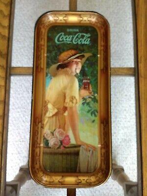 1916 Coca Cola Tray ~ Elaine Girl W/ Flower Basket ~ Original ~ Great Graphics