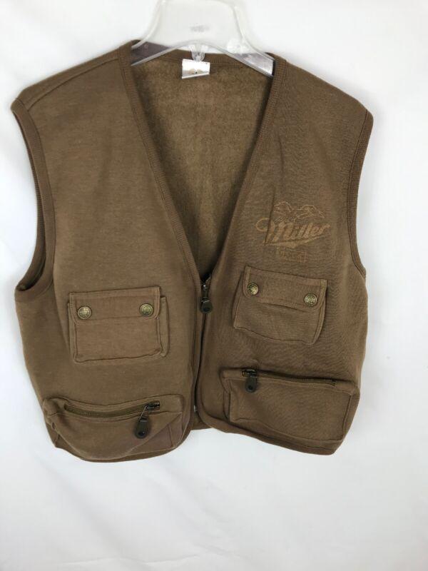 BAC Premier VTG Miller Lite Beer Promo Fishing Hunting Vest Mens Sz Large Brown