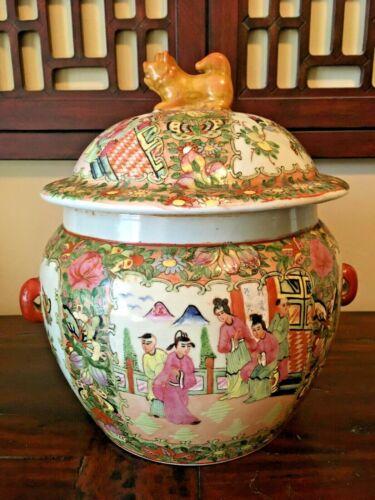 """11"""" Porcelain Chinese Foo Dog Finial Lid Temple Jar Pot~Famille Rose Medallion"""
