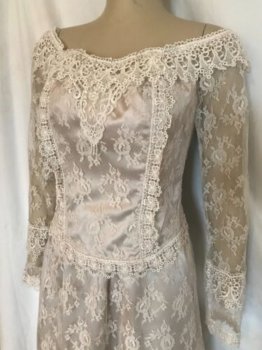 Ivory Lace Over Buff Satin Corset Top and Skirt, Size 8