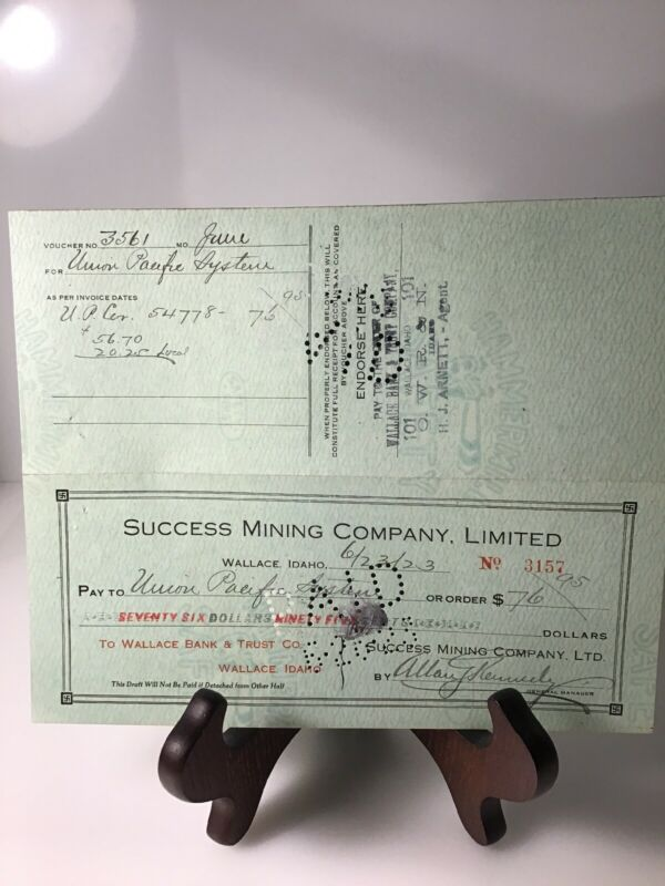 Success Mining Co Wallace Idaho Signed Check Union Pacific 1923