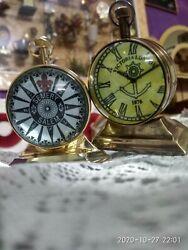 set of 2 pcs Nautical Antique Victoria London Shiny Brass Finish Desk Top Table