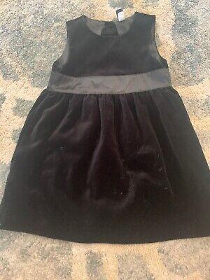 Baby Gap 3T Black Velvet Dress With Satin Lining Holiday Christmas