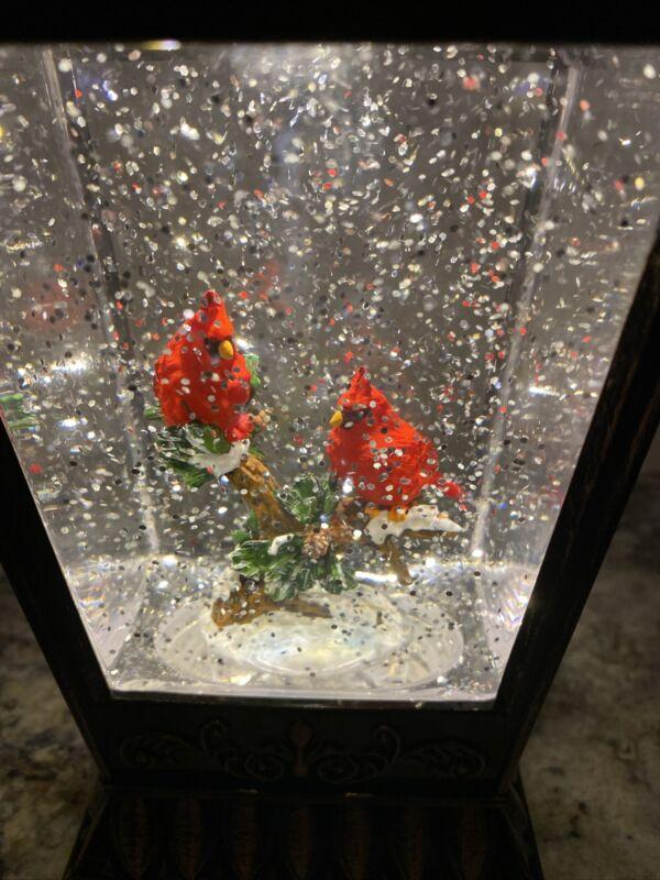 "Christmas Snow Globe Water SWIRLING Lighted Cardinal 2 Red Bird 11.5"" (GT) Tree"