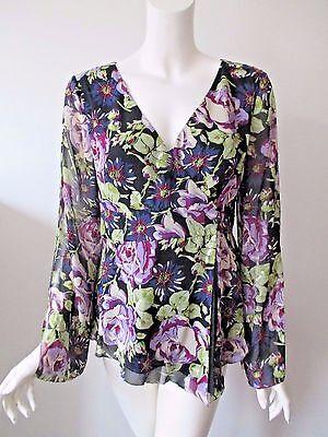 NICOLE MILLER Floral Prints w/ Beads Sequins Slit Sleeve Wrap Silk Top Blouse M - Nicole Wrap Top
