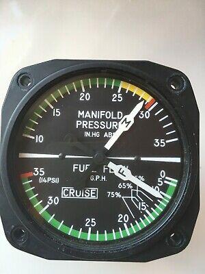 Manifold Pressure Fuel Flow Gauge PN 6331 CODE H 55 10-35 IN HG ABS 0-20 PSID