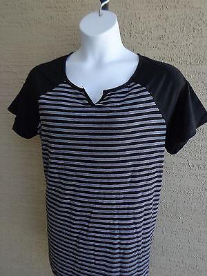 NEW Just  My Size 2X  Raglan S/S Notch Neck Striped Tee Top Black & White Stripe