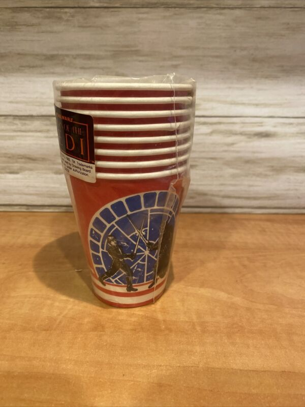New Vintage Sealed 1983 Star Wars Return Of The Jedi Paper Party Cups (8 Ct)