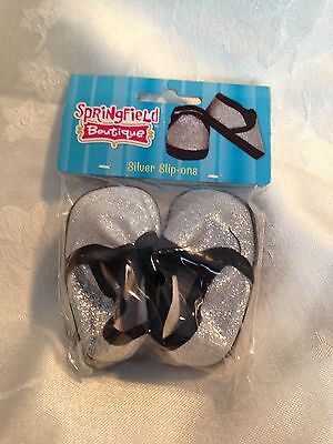 """Springfield Doll Clothes-Silver/Black slip on Shoes fits American Girl/ 18"""" Doll"""