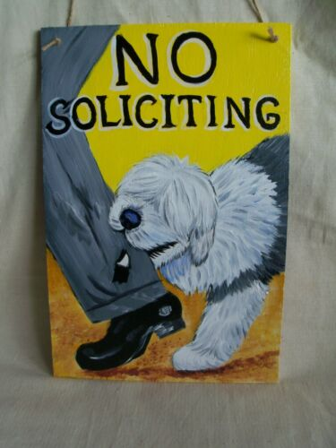 "Custom painted ""NO SOLICITING"" SIGN from YOUR dog photo hand painting art funny!"