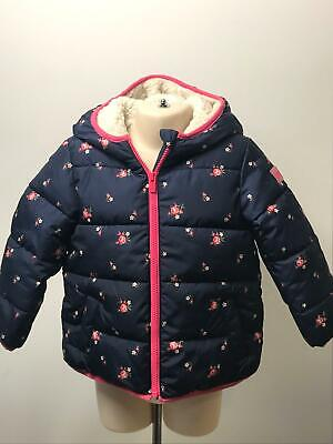 GIRLS BABY GAP BLUE & PINK HOODED PADDED QUILTED COAT JACKET KIDS AGE 4 YEARS