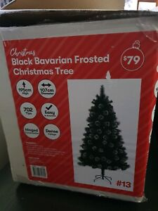 Black Bavarian Frosted Christmas Tree New