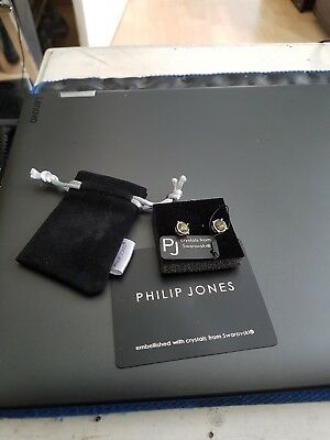 Phillip Jones Shimmering Earrings With Crystals From Swarovski Brand New