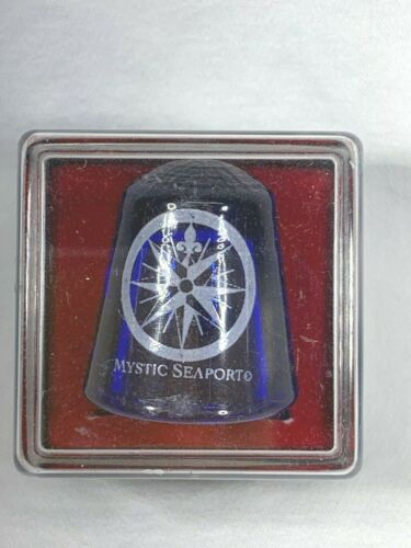 Collectible Travel Thimble Mystic Seaport Blue Glass Thimble