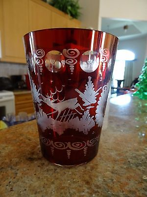 Ruby Red Cut to Clear Egermann Czech Bohemian Glass TUMBLER STAG CASTLE DEER