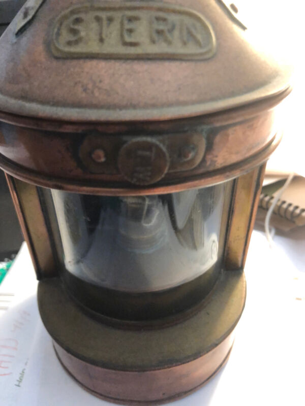 Authentic Vintage Stern Tung Woo Copper Brass Ship Lantern Nautical