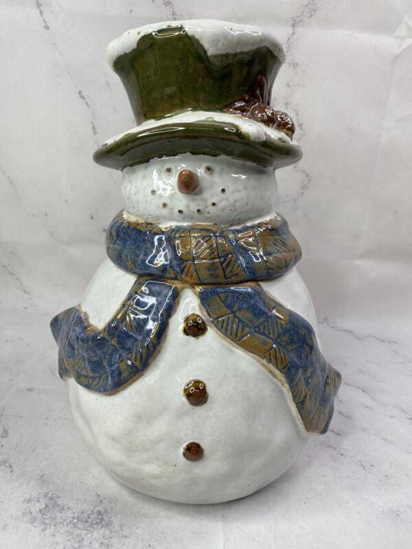 """St. Nicholas Square Forest Friends 12"""" Stoneware Cookie Jar Snowman Christmas"""