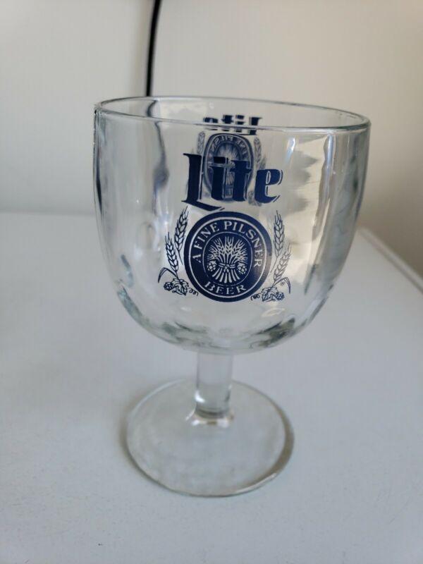 "VINTAGE MILLER LITE BEER ~ Stemware ~Footed Glass Goblet ~ Thumbprint ~ 6"" Tall"