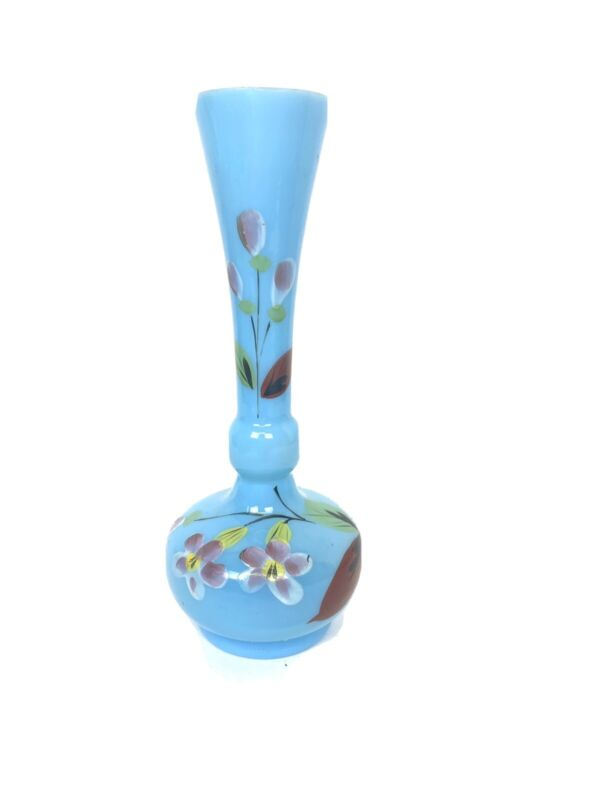 Antique Small French Opaline Blue Glass Vase Hand painted. Country French