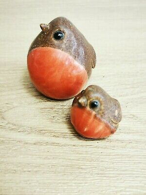 Vintage Irish made in cork Christmas Wooden Robin Duo