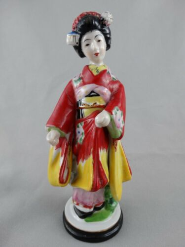 VINTAGE HAND PAINTED WOMAN FIGURINE - JAPANESE WOMAN - MADE IN JAPAN