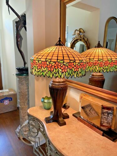 Large Antique Handel/Unique Leaded Glass Lamp