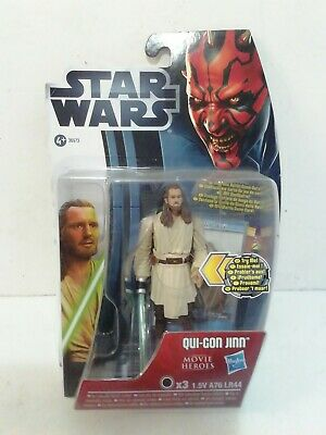 Star Wars Movie Heroes Action Figure Qui Gon Jinn with Light Up Lightsabre MH18