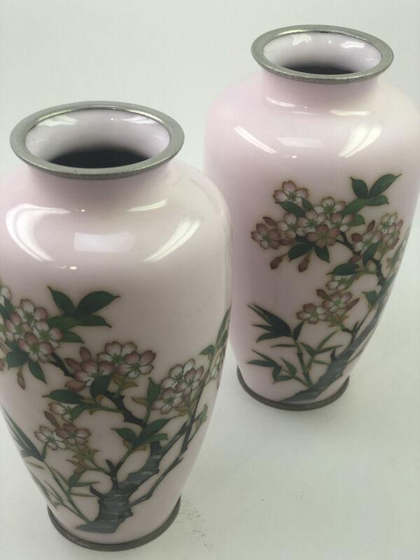 Pair Japanese Wireless Cloisonne Vase