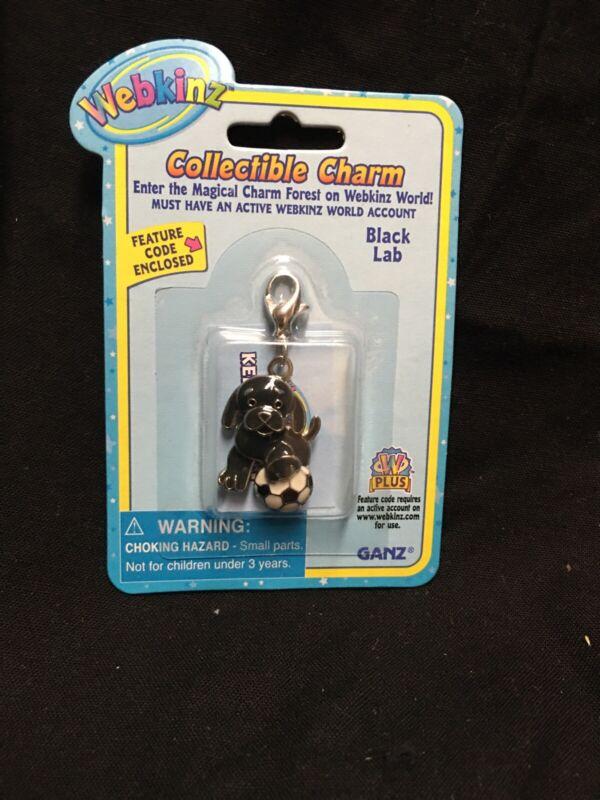 Webkinz Collectible Charm - BLACK LAB  - New Smoke/pet FREE Home Mint Cond