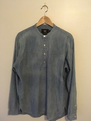 Ralph Lauren's RRL Sun faded Chambray Banded Collar Blue Work Shirt Size L NWOT Banded Collar Long Sleeve Work Shirt