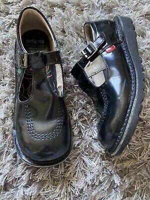 Girls Kickers Kick T-bar Patent School Shoes Size 35