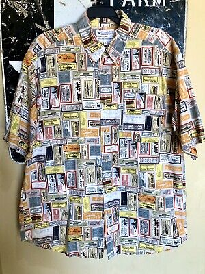 Columbia Vintage Button Down Shirt Fishing Lures Advertising Labels
