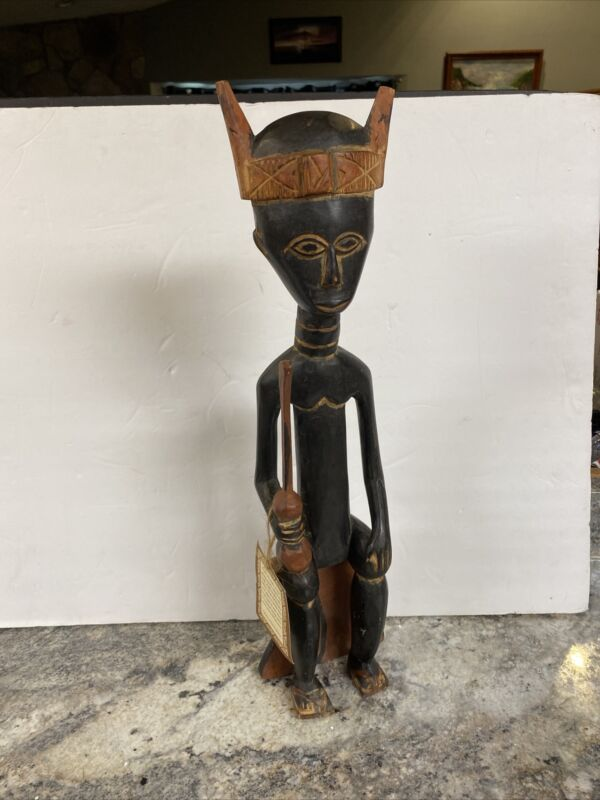 """African Wood Doll Statue Hand Crafted In Ghana 19"""" Sitting"""