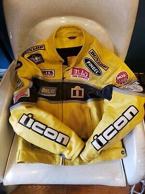 Icon Neo Daytona Leather Jacket 44 L yellow Patches