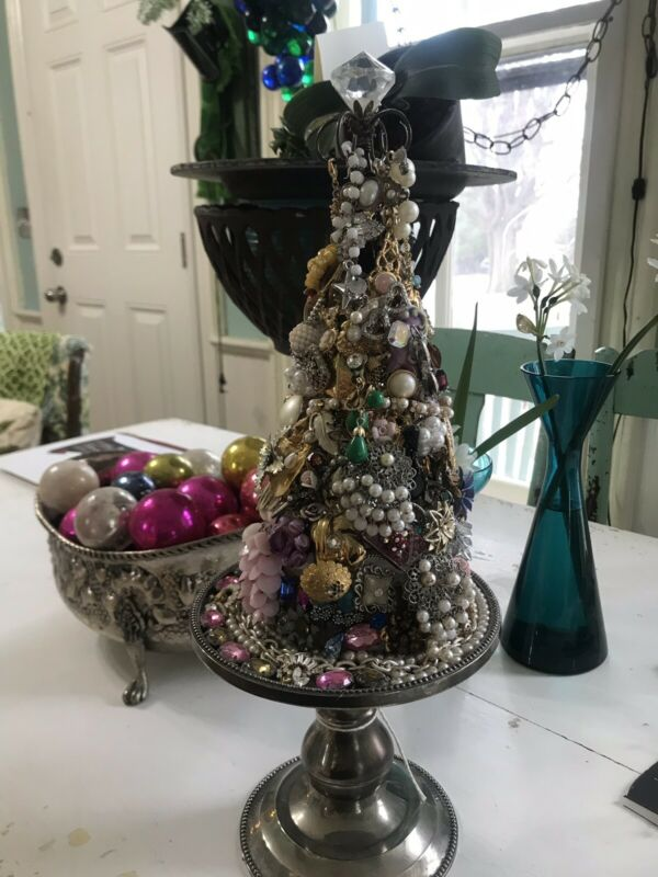 Vintage Memory Ware Jeweled Pastel Christmas Tree On Silver Plated Stand Chic