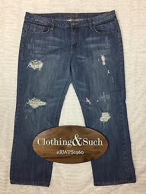 12345678 Heavy Distressed Denim Capri Jeans Size 13 Cotton Blend