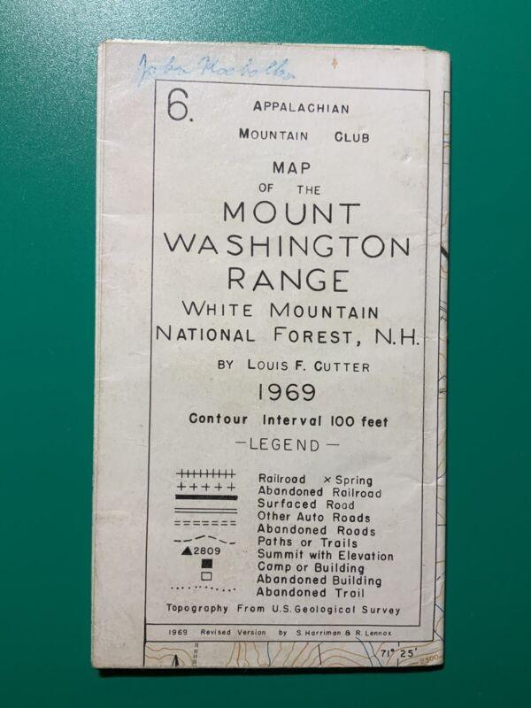 Appalachian Mountain Club Map Mount Washington Range White Mountain NH 1969