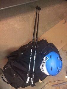 Salomon ski helmet and poles
